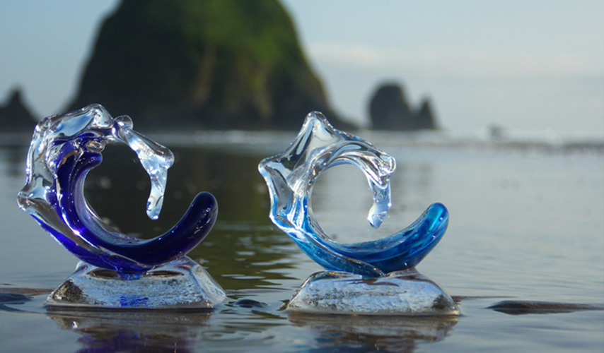 Baby Glass Wave Sculptures - Baby Waves - David Wight Glass Art