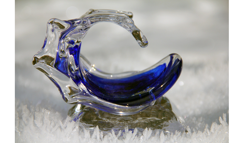 Baby Glass Wave Sculptures in the snow - Baby Waves - David Wight Glass Art
