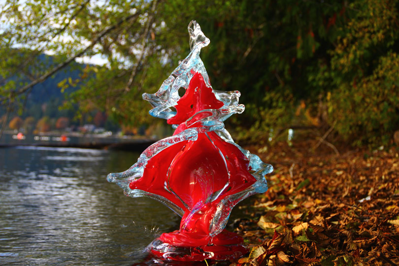 Flamenco Glass Wave Sculpture by the Water - David Wight Glass Art