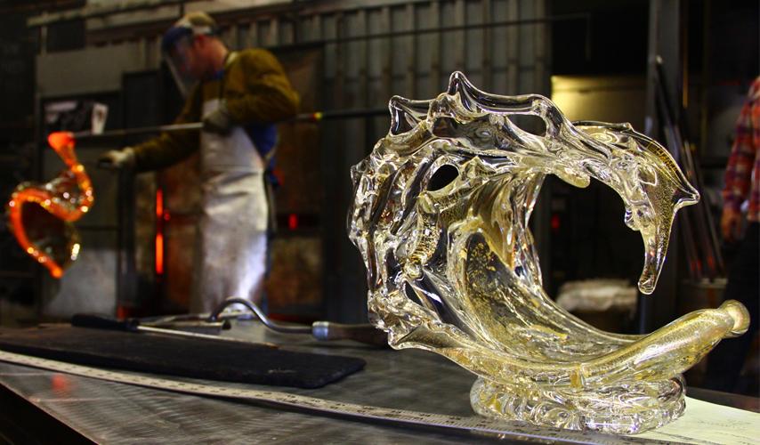 Gold Glass Wave Sculpture - David Wight Glass Art