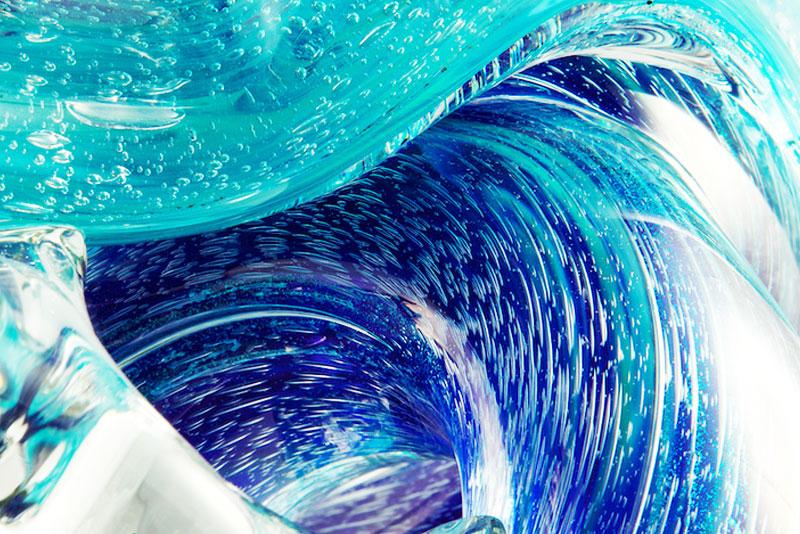 Neptune Glass Wave Sculpture Details 3 - David Wight Glass Art