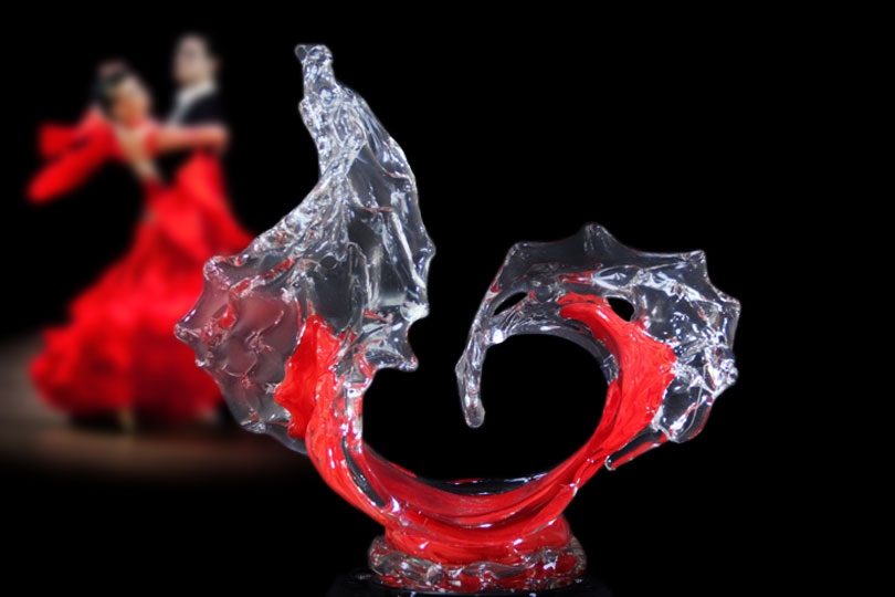 Sunset Tango Glass Wave Sculpture on the Dance Floor - David Wight Glass Art
