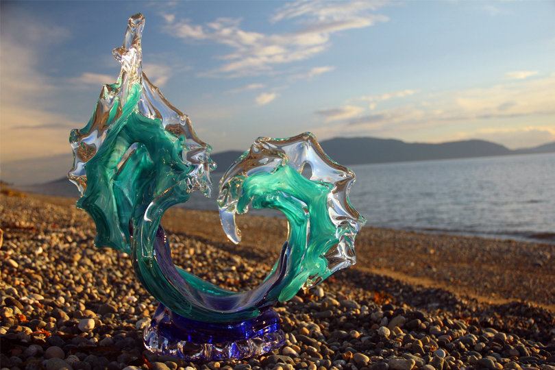 Sunset Tango Glass Wave Sculpture on the Beach - David Wight Glass Art