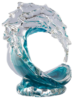 XXL Turquoise Tsunami Glass Wave Sculpture - David Wight Glass Art