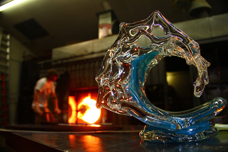 Tsunami Glass Wave Sculpture in the Studio