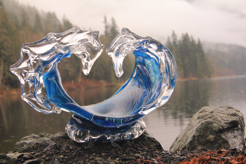 Water Dance Glass Wave Sculpture by the Water - David Wight Glass Art